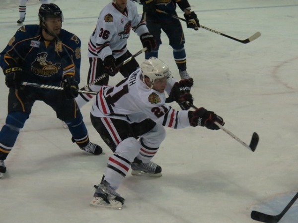 Ben Smith scores a goal during Friday night's tilt against the Rivs. (Photo Credit: Kim Wrona)