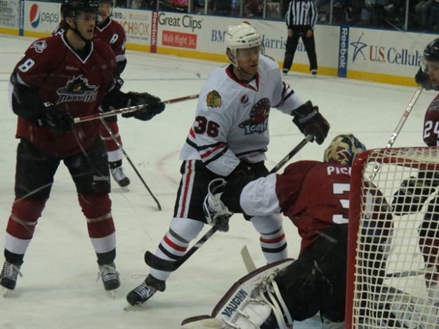 Brad Mills scored twice during the IceHogs' weekend set against Lake Erie (Photo Credit: Kim Wrona)