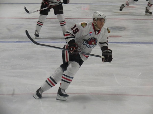 Jeremy Morin scored 2 goals in 2 games since he returned to the Rockford line-up. (Photo Credit: Kim Wrona)