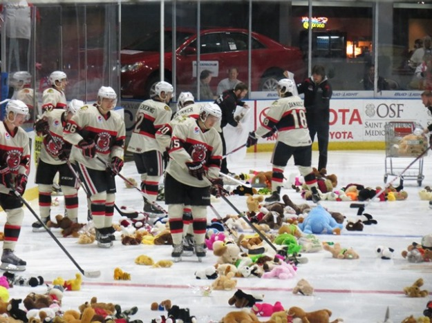 It was Teddy Bear Toss Night at the BMO on Saturday. Read to find out who scored the goal to make them come down onto the ice. (Photo Credit: Kim Wrona)