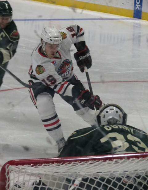 IceHogs winger Jeremy Morin recorded his first professional hat trick on Saturday night. (Photo Credit: Kim Wrona)
